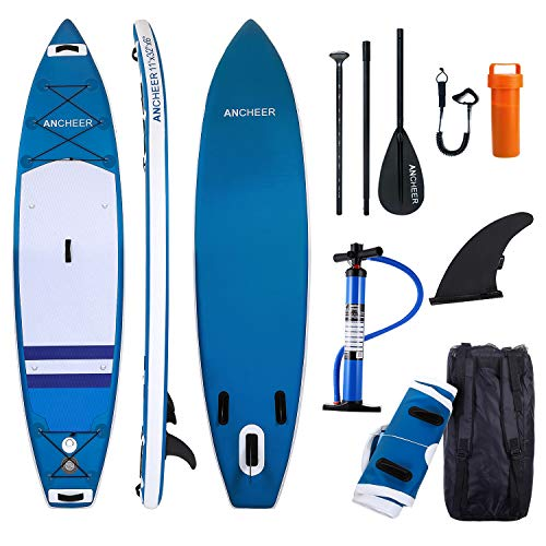 ANCHEER Inflatable Stand Up Paddle Board 10', Non-Slip Deck(6 Inches Thick), iSUP Boards Package w/Adjustable Paddle, Leash, Hand Pump and Backpack, Youth & ()