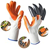 #5: Garden Genie Gloves, Aokey Rubber Polyester Digging Gloves (1 Pair) with Sturdy Plastic Claws for Easy Digging & Planting (Claws on Right Hand)