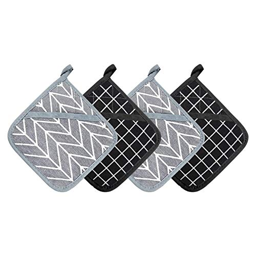 BEATURE Cotton Oven Mitts and Pot Holders for Kitchen Heat Resistant with Hanging Loop, Kitchen Sets & Tabletop…