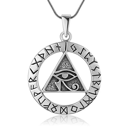 Sterling Silver Egyptian Eye of Horus Symbol Pyramid Ancient Alphabet Script Pendant Necklace, 18