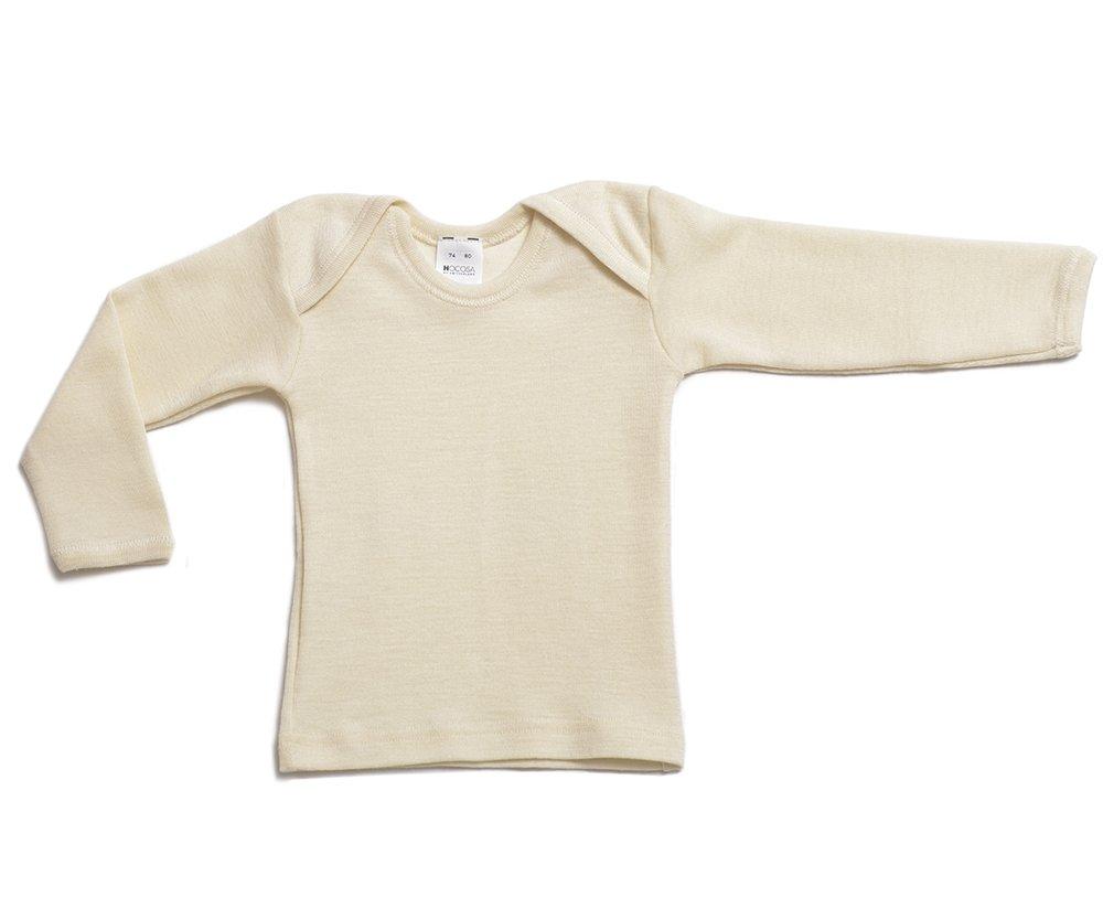 Hocosa of Switzerland Organic Wool-Silk Baby Shirt, Long Sleeves, Natural White, s. 74/80 (6-12 mo) by Hocosa of Switzerland