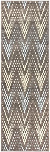 Superior Arete Collection Area Rug, 6mm Pile Height with Jute Backing, Affordable and Contemporary Rugs, Chic Designer Inspired Chevron Pattern – 2 7 x 8 Runner, Slate