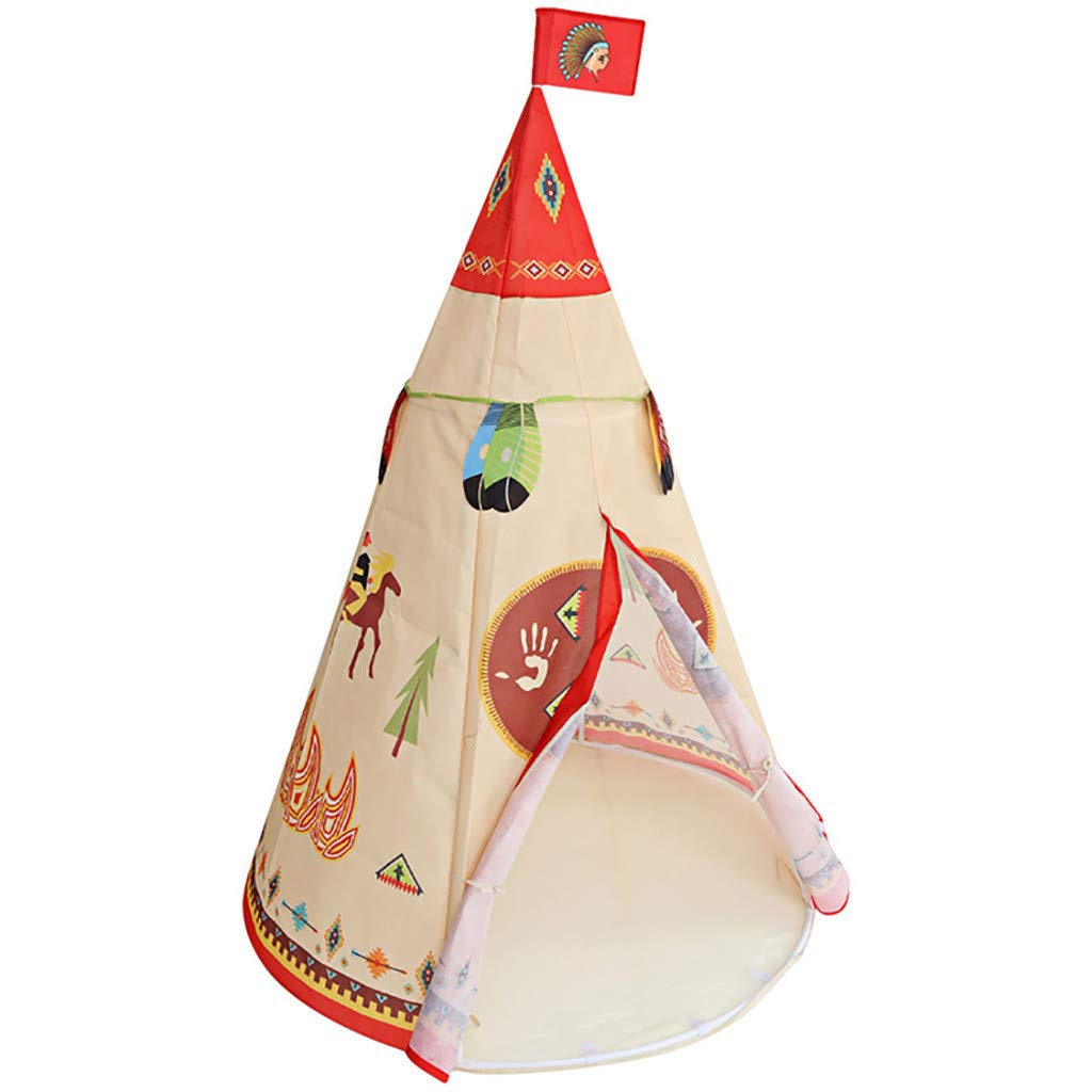Binory Foldable Kids Jungle Indian Style Play Tent with Carry Case,Indoor Outdoor Forest Canvas Teepee Hiding Sleeping Playhouse,Educational Birthday Gift Idea for Boys Girls Children