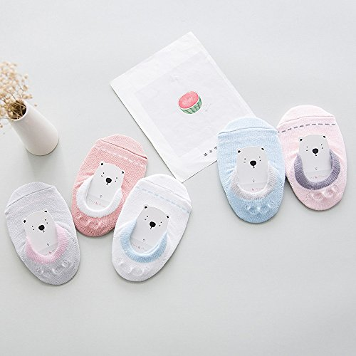 Unisex Baby Toddler No Show Non Skid Slip Heel Grip Low Cut Cotton Socks for Boys and Girls (Pack of 5/10) (S 2-4T, 5 Pack) by Junoai (Image #3)
