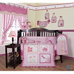 GEENNY Designer Girl DragonFly Girl's 13PCS CRIB BEDDING SET