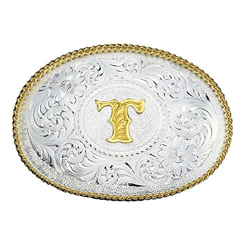 "Montana Silversmiths Men's Initial T Belt Buckle, 3.5"" x 2.5"" – Western Style Gold Trim Oval Buckle ()"