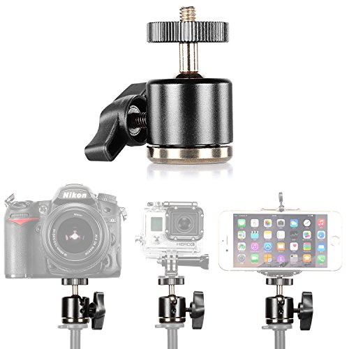 "Neewer Aluminum Alloy 360 Degree Rotating Swivel Mini Ball Head with 1/4""3/8""Thread Base Mount for DSLR Camera like Canon,Nikon,Sony/Camcorder/iPhone 6s/6/5S/5/4S/4,Gopro HD Hero 1/2/3/3+/4 from Neewer"