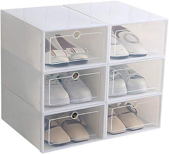 PopHMN Caja De Zapatos Tipo Cajón Apilable De 6 Piezas, Caja De Almacenamiento De Zapatos Plegable Transparente Engrosada, Organizador De Zapatos De Plástico Gabinete De Estante para Oficina En Casa