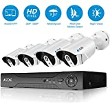 A-ZONE 2-Megapixel(1920x1080) High Resolution POE Security System NVR with 4x HD 2.0MP 1080P Outdoor Fixed Security Cameras,with 1TB Hard Drive