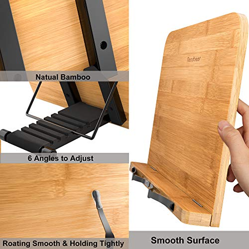 BamBoo Book Stand Large Size (13 x 9.3 inch) Reading Rest Cookbook Stand Document Holder for Kitchen & Office