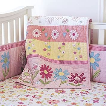 Pottery Barn Kids Pink Daisy Garden Quilted Bedding