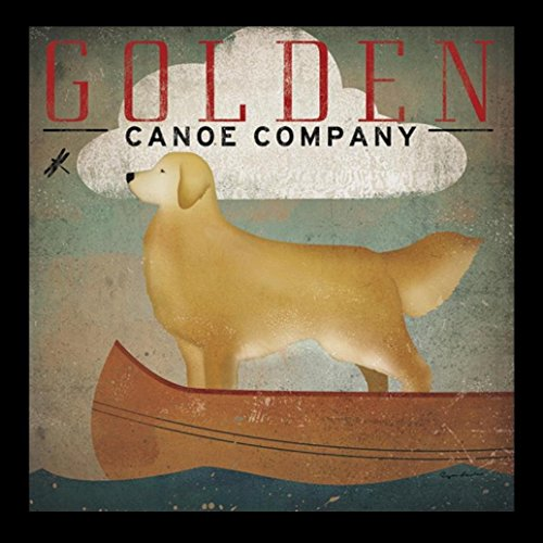 buyartforless IF WA 11276 1x12 1.5 Glass Framed Golden Dog Canoe Co (Antique Dog Art)