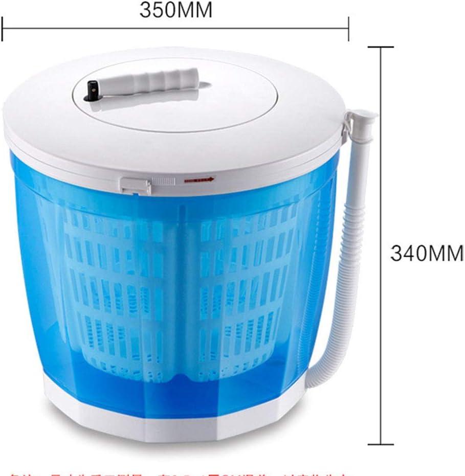 LXD Lavadora portátil doméstica, mini deshidratador manual pequeño, sin necesidad de secadora eléctrica, secadora de manos, deshidratación de 3 kg, apta para dormitorios de acampada, etc,Azul