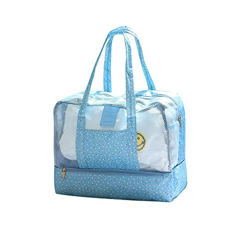 Zhenxinmei Beach Bag Swimming Tote Bag Multifunction Dry and Wet Separation Bag Men Women Toiletry Pouch Case Waterproof Storage Bags for Bathroom Shopping Spa Surfing (Sky Blue Flower) - Blue Surfing Wallpaper