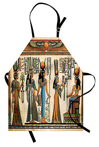 VCFUN Egyptian Adjustable Bib Aprons, Egyptian Papyrus Depicting Queen Nefertari Making an Offering to Isis Image Print Women/Men Kitchen Apron with Extra Long Ties for Chef Cooking Baking, Small]()