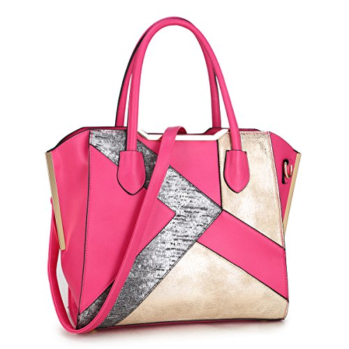 Pink Snake Handbag - Dasein Women Snake Skin Handbags Vegan Leather Totes Patchwork Satchel Top-handle Bags W/Long Shoulder Strap