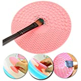 Silicone Gel Cosmetics Make Up Brushes Round Shaped Washing / Cleaning Utensil / Scrubber / Board / Suction Cup Pad / Makeup Applicators Cleaner / Scrubbing Tool In Pink Colour