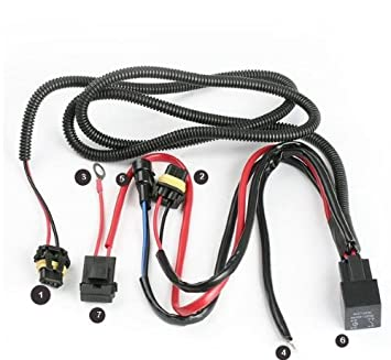 amazon com xenon hid conevrsion kit relay wiring harness 9005 9006 rh amazon com hid fuse relay wiring harness kit single fan wiring harness & relay kit