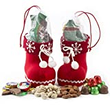 Holiday Gift Basket Christmas Santa Shoes Chocolate Candy and Nuts Gift Set, Stocking Stuffers - Oh! Nuts (Snowflake)