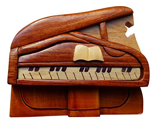 South Asia Trading Handmade Wooden Art TRICK SECRET Piano Puzzle Trinket Box (3026)