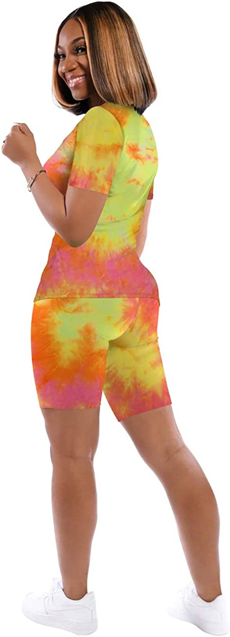 Casual Two Piece Outfits for Women V Neck Tie Dye Short Set