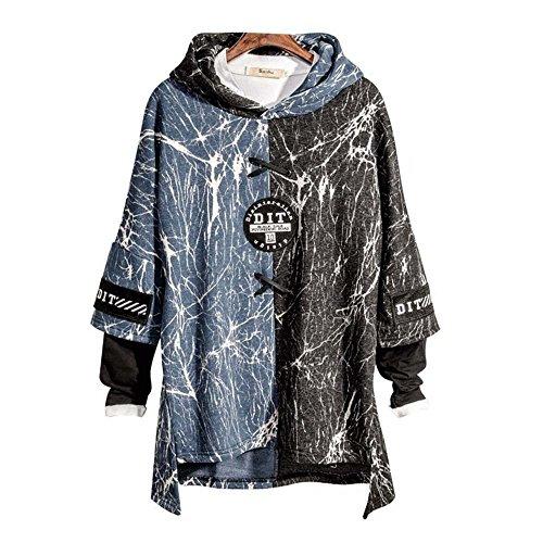 Japanese Fashion Clothing - Jinbeile Japanese Hoodie Sweatshirts, Mens Long Sleeve Loose Hooded Pullover
