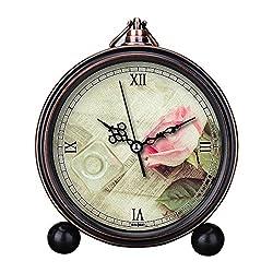 Girlsight Art Retro Living Room Decorative Non-ticking, Easy to Read, Quartz, Analog Large Numerals Bedside Table Desk Alarm Clock-B4545.Rose, Still Life, Pink, Vintage, Floral