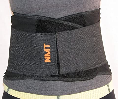 NMT Back Brace ~ Concentrated Lumbar Support Belt ~ Core Pain, Arthritis ~ Premium Posture Corrector ~ Natural Physical Therapy ~ Men and Women ~ 4 Flexible Sizes 'L' Fits Waist 34
