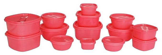 Princeware SF Plastic Storage Container Set, 14-Pieces, Pink