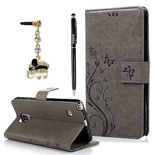 Note 4 Case, Galaxy Note 4 Case - BADALink Fashion Wallet Premium PU Leather Embossed Flowers Butterfly Flip Cover with Hand Strap Card Holders & Cute Elephant Dust Plug & Stylus Pen - Gray