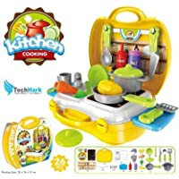 Techhark Ultimate 26 Pieces Kid Chef's Bring Along Kitchen Cooking Suitcase Set