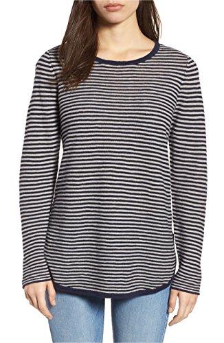 Eileen Fisher Petite Sweater - Eileen Fisher Women's Organic Cotton Blend Striped Long-Sleeve Sweater Midnight PL