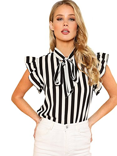 Floerns Women's Sleeveless Bow Tie Striped Summer Chiffon Blouse Top Black and White