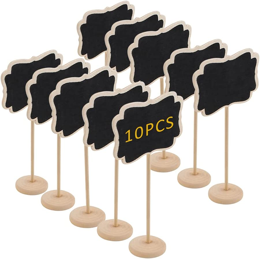 Canitor 10 Pack Mini Chalkboards Signs Chalkboards Labels Rectangle Message Board Labels with Stand, Small Wood Erasable Chalkboards for Bakery, Buffet, Food, Plants, Weddings, Birthday Party