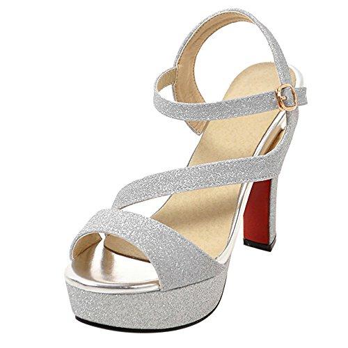 RAZAMAZA Femme Mode Plateforme Sandales Talon Haut Sangle de Cheville Boucle Chaussures Mariage Argent Tok6Zc