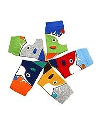 Feoya Boy's Cartoon Cute Crew Socks Seamless Cotton Socks 5 Pack 4-6-yr