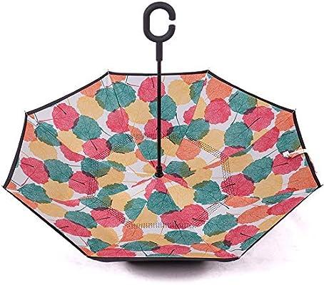 L.Z.HHZL Manejar Paraguas Paraguas invertido de Doble Capa para ...