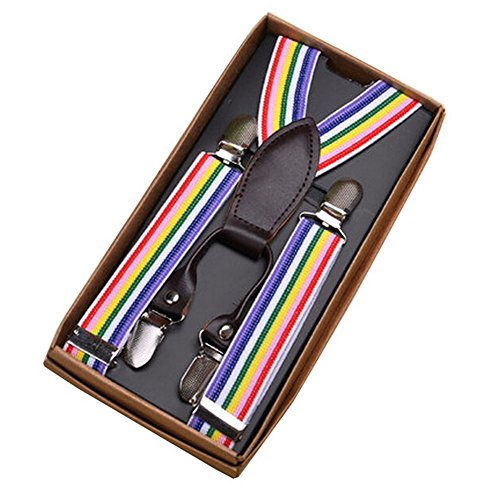 Kids Elastic Braces Clip 4 Clips-on Adjustable Suspenders [Pinstripe, -
