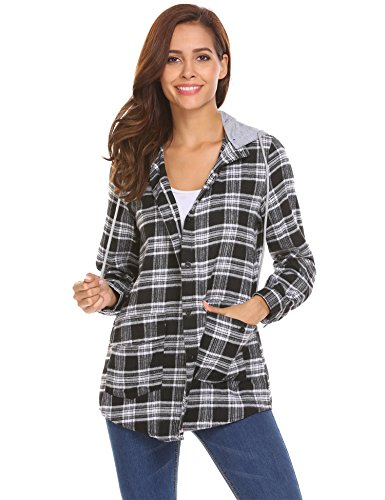 Beyove Womens Casual Long Sleeve Boyfriend Plaid Button Down Tops Jacket Shirts with Detachable Hooded