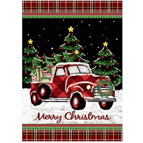 - Morigins Merry Christmas Decorative Winter Red Truck with Gifts Double Sided Holiday House Flag 28x40 in