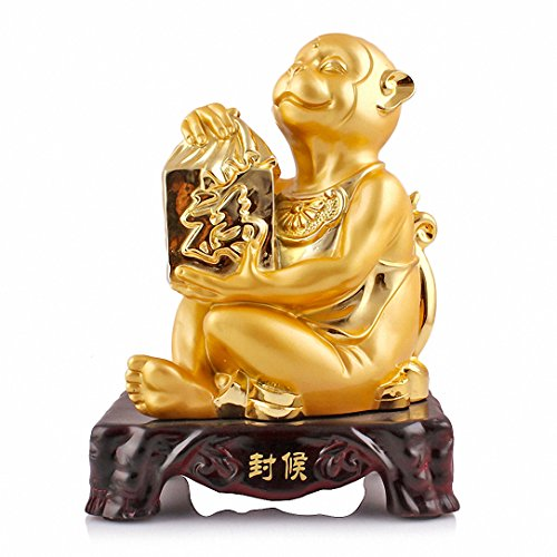 Large Size Chinese Zodiac Monkey Golden Resin Collectible Figurines Table Decor (Golden Set Figurine)