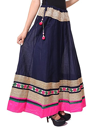 Long Handicrfats Blue Export Indian 40 Tired Women Skirt Lace size Navi Cotton Length Inches For Border U8n1xqnw