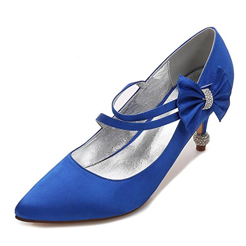 con Plateau blu Tacco con shoes per Punta Sposa Alto Elegant 6 da high Chiusa Plateau Scarpe Donna Fibbia 17767 Scarpe qZHwx7