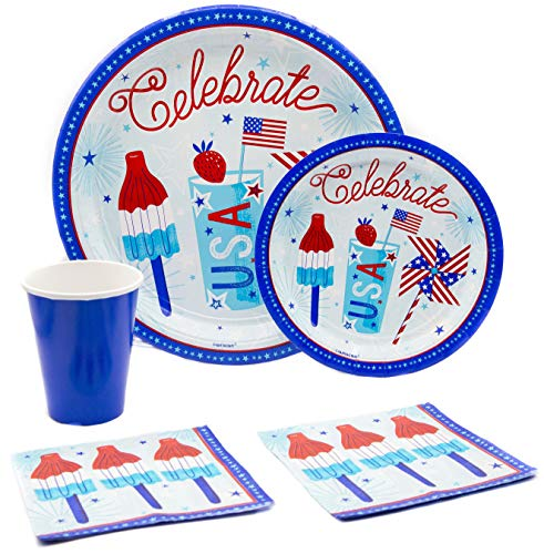 Celebrate USA (4th of July) Pack! Disposable Paper Plates, Napkins and Cups Set for 17 (With free - Set Dessert 4 Plate Celebrate