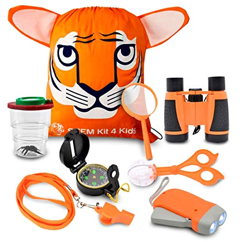 Kids Explorer Kit, Bug Catcher Kit for kids, Magnifying Glass, Binoculars for Kids, Kids Camping Kit, for Kids Ages 4 a 9, Outdoor Toys by STEMKit4kids