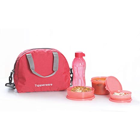 Tupperware Tupsling Sling A Bling Plastic Lunch Set with Designer Bag, 4 Pieces, Multicolour Lunch Boxes