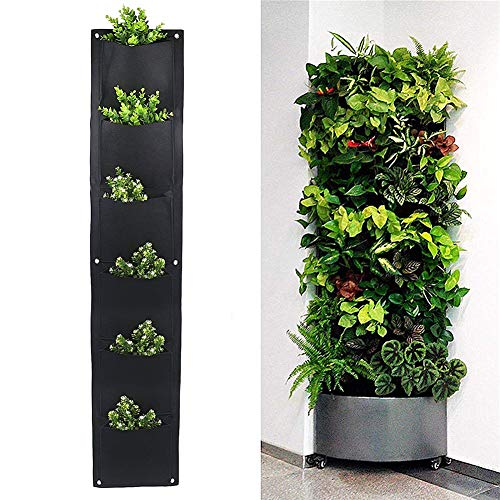 (JUST N1 Vertical Wall Hanging Planters 4 6 7 Pockets Indoor Outdoor Large Grow Felt Bags for Balcony Garden Yard Office Home Decoration)