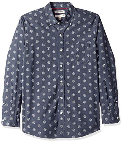 (Goodthreads Men's Standard-Fit Long-Sleeve Printed Poplin Shirt, Blue Heather Florette, Large)