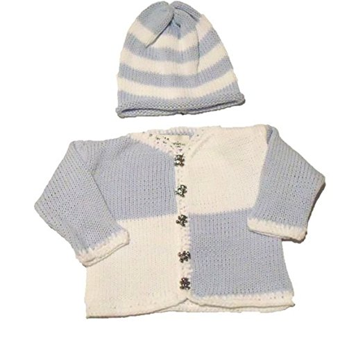 knitted-blue-cotton-white-chenille-trim-cardigan-hat-set-for-ages-0-6mo