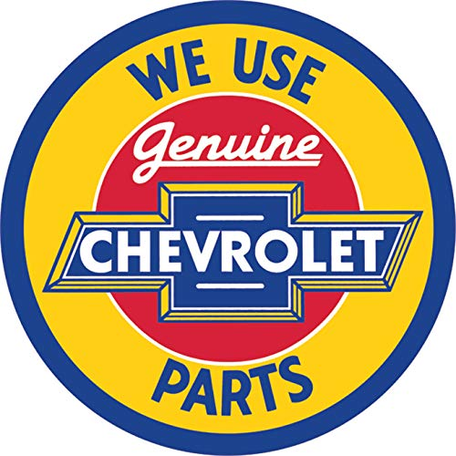 - Desperate Enterprises Chevrolet Genuine Parts Round Tin Sign, 11.75